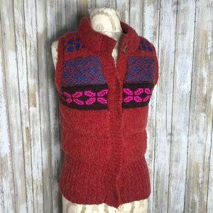 FREE PEOPLE (S) Fair Isle Nordic Wool Blend Vest
